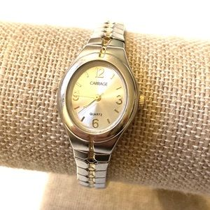 CARRIAGE WATCH SILVER GOLD